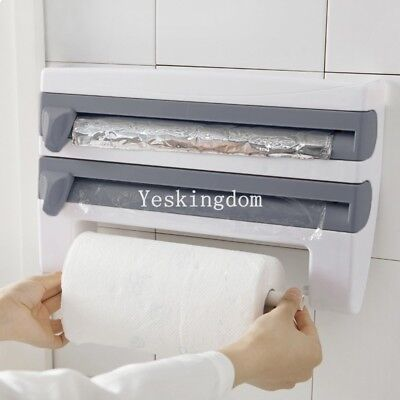 3 in 1 Kitchen Roll Holder Cling Film Towel Foil Dispenser Wall Mounted New