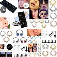 Multi Crystal Stainless Steel Lip Nose Open Hoop Stud Ring Body Piercing Jewelry - unbranded - ebay.co.uk