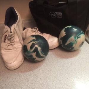 Bowling balls/ carry bag / shoes