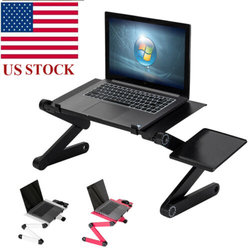 US Folding Laptop Table W/ Mouse Pad 360°Adjustable Desktop Stand Sofa Bed Tray