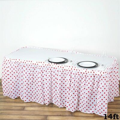 14 ft Red and White PLASTIC Polka Dots TABLE SKIRT Disposable Wedding Party