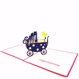 3D BABY STROLLER GREETING CARD