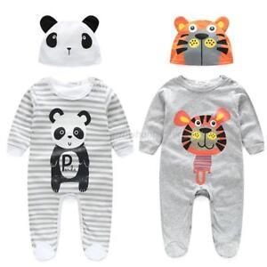 Newborn-Infant-Baby-Boy-Girl-Cotton-Romper-Jumpsuit-Bodysuit-Hat-Outfits-Clothes