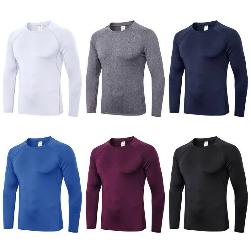 Men Compression Gym Tops Quick Dry Shirt Base-layer Long-sleeve Workout Tops Hot
