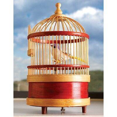 Wind Up Wooden Singing Bird Cage Music Box
