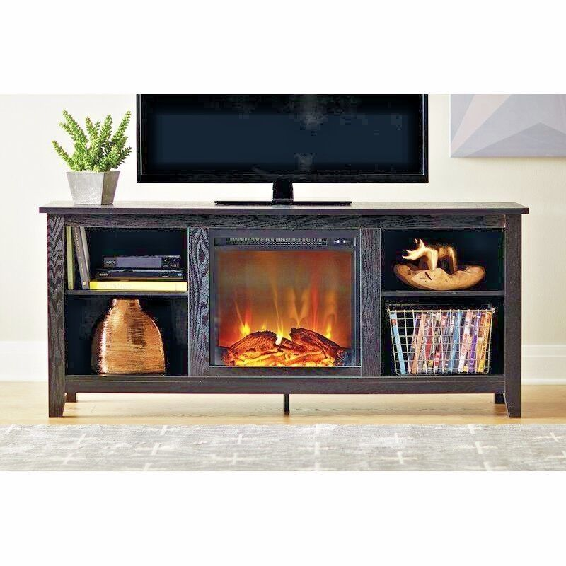 Fireplace TV Stand Space Heater Center Black Cabinet Shelvin