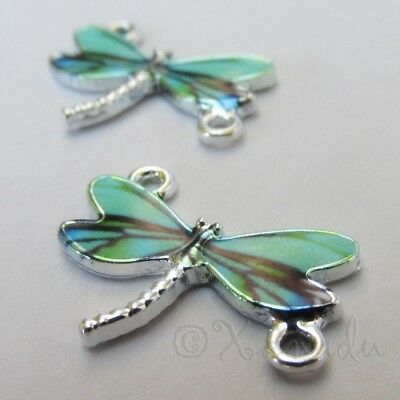 Teal Dragonfly 24mm Silver Plated Enamel Connector Charms C5551 - 2, 5 Or 10PCs Dragonfly Silver Plated Charms