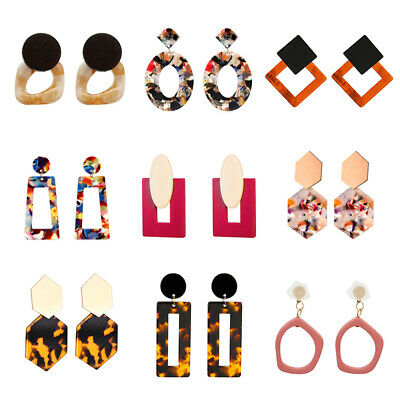 Geometric Acrylic 2020 Women Earrings Hook Resin Drop Dangle Boho Jewelry Gift