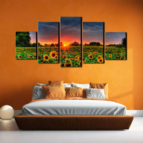 5pcs Unframed Sunflower Art Oil Painting Print Canvas Pictur