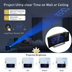 Mpow 5'' LED Curved-Screen Projection Alarm Clock FM Radio Dual Clock 4 Sounds