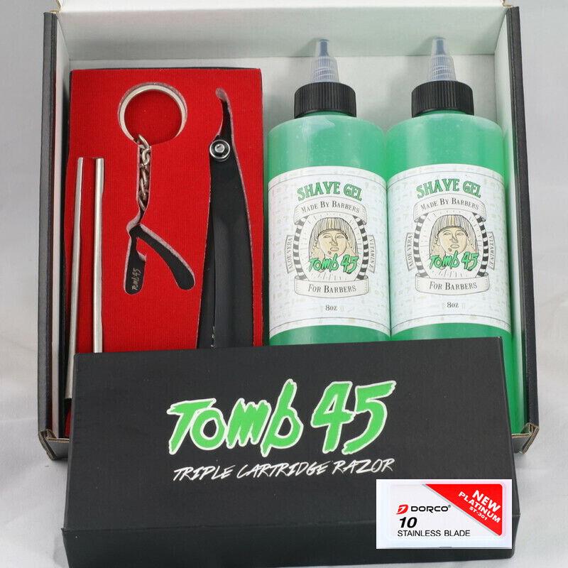 tomb45 triple cartridge razor and 2 shave