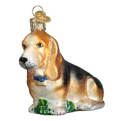 BASSET HOUND DOG BREED CANINE OLD WORLD CHRISTMAS GLASS PET ORNAMENT NWT -
