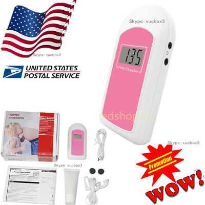 Us Fda Pregnancy Baby Fetus Heart Rate Monitor Fetal Doppler Recorder Sound Gel