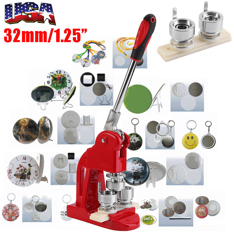 """1.25"""" Button Maker Badge Punch Press Machine with 1000 Parts Circle Cutter 32mm"""
