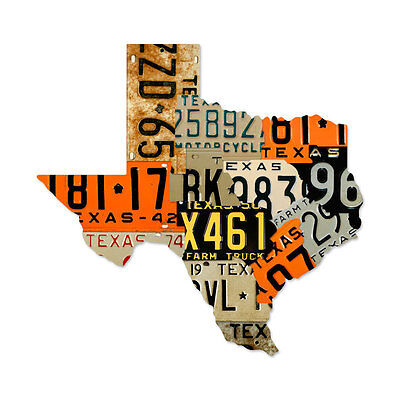 "Vintage Style Retro Texas License Plate Map Steel Metal Garage Sign 24"" x 23"""