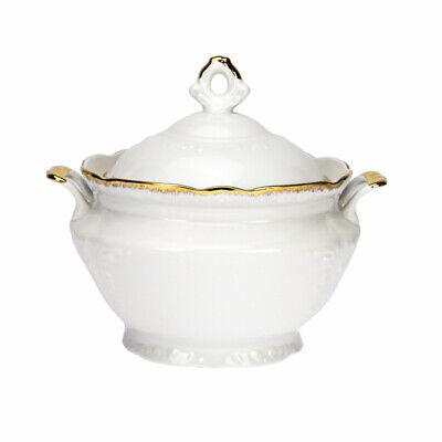 Porcelain Soup Tureen 3L Bowl with handles Gold Rimmed Fine Large Serving Stew Gold-rimmed Soup Bowl