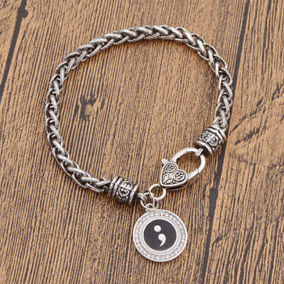 Semicolon Suicide Self Harm Awareness Bracelet Mental Healty Sliver Jewelry 1pc
