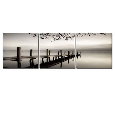 Picture Painting Canvas Print Wall Art Home Decor Poster Landscape Bridge Gray