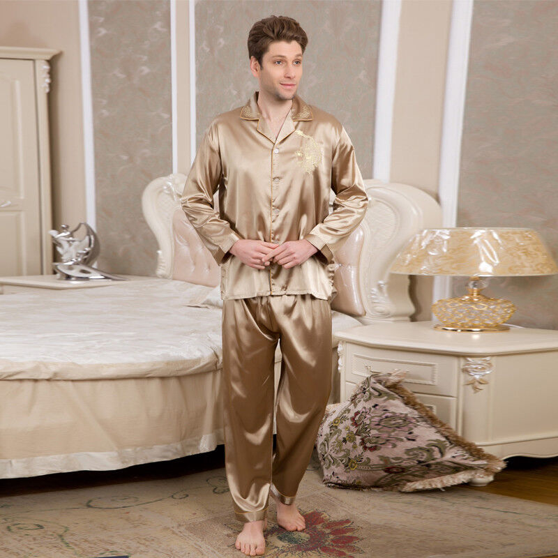 NWT 2PCS Mens Silk Satin Pajamas Sleepwear Pyjamas PJS Long Sleeve M002 M L