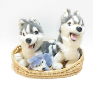 HUSKY DOG FAMILY IN A BASKET STUFFED ANIMALS - UNUSED/MINT