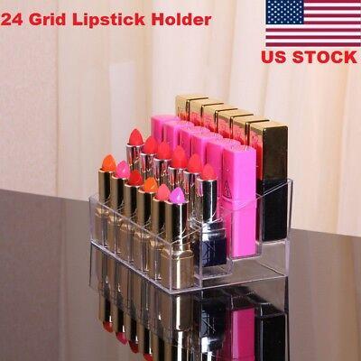 Disp Box - Acrylic 24 Lipstick Storage Box Make-up Organizer Case Cosmetic Disp Holder GW