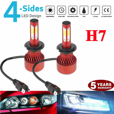 pair 4-sides CREE LED Headlight Kit H7 2000W 6000K 300000LM Replacement Bulbs for sale  USA