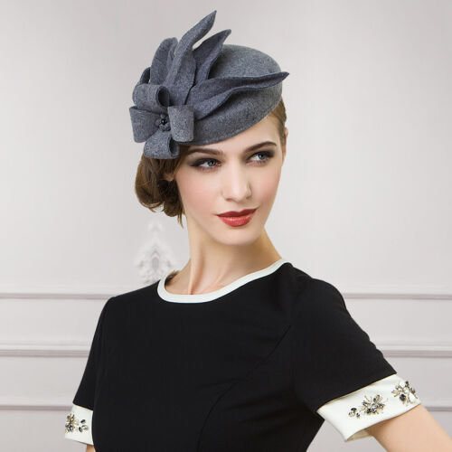 Women Lady Gray Wool Felt Cheltenham Fascinator Flower Hat Cocktail Party A302