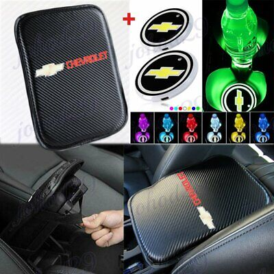 For CHEVROLET Chevy Carbon Center Armrest Cushion Mat Pad Cover +LED Cup Coaster
