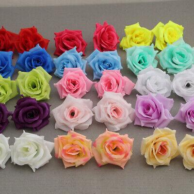 Home Decoration - 50 Pcs Artificial Fake Silk Rose Heads Flower Buds Bouquet Home Wedding Decor