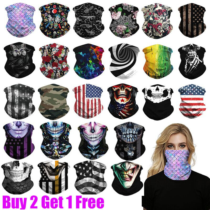 Unisex UV Protection Tube Mask Washable Face Cover Neck Gaitor Outdoor Sports