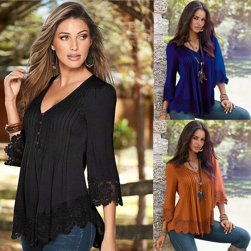 $3.99 - US Fashion Women Lace 3/4 Sleeve V Neck T-Shirt Casual Loose Tops Blouse Shirts