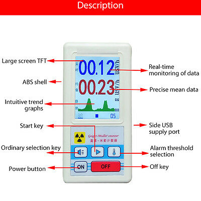 Geiger Counter Beta Gamma X-ray Nuclear Radiation Detector Gm Tube Dosimeter Us