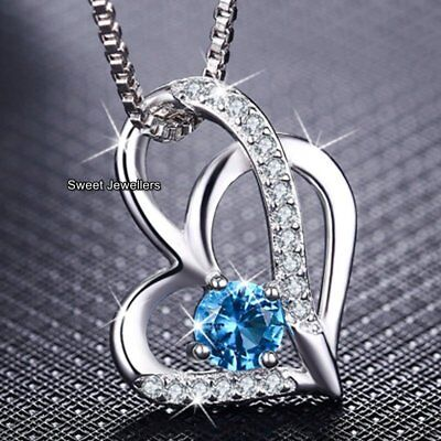 BLACK FRIDAY DEALS Xmas Gifts For Her Blue Crystal Heart Necklaces Silver Women](black friday chandelier deals)