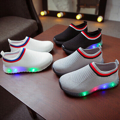 Size 21-30 Kids Toddler Boys Girls Trainers Shoes Baby LED LIGHT UP Sneaker