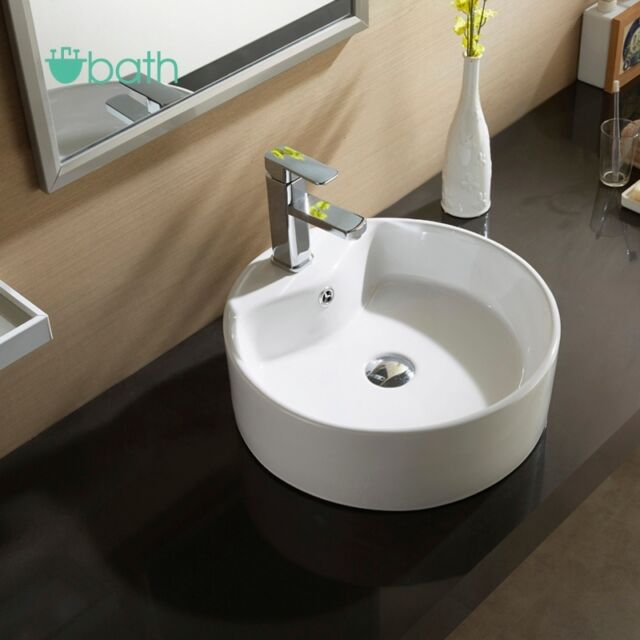 Round White Porcelain Ceramic Vessel Countertop Basin Sink Bowl Bathroom