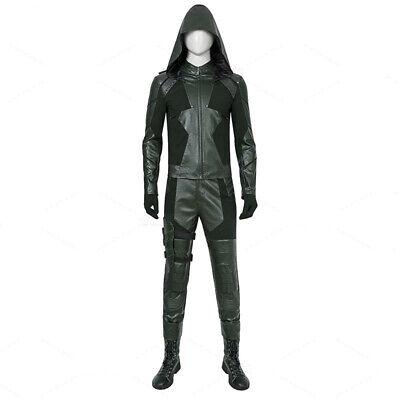 Green Arrow Season 8 Oliver Queen Men Cosplay Costume Halloween Suit Custom Set