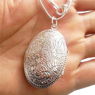 925 Sterling Silver Large Carved Oval Shaped Locket Pendant +Chain Necklace Set