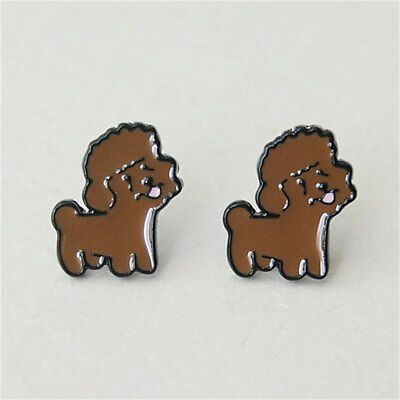 Poodle Dog Earrings Enamelled Metal 13mm Puppy Studs Silver Tone Chocolate Brown