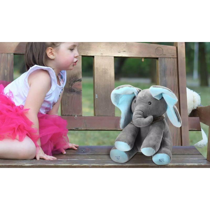 "12"" Plush Stuffed Elephant Doll  Peek-a-Boo Elephant  Talking  Singing"