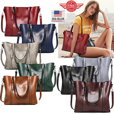 Women Leather Tote Bag Handbag Lady Purse Shoulder Messenger Satchal Bags T35 - Ladies Purses