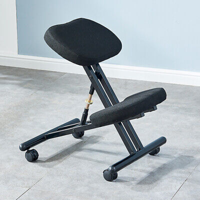 Adjustable Height Ergonomic Kneeling Chair Posture Stool For Home Office Black