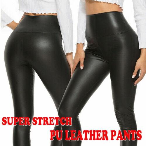 Faux PU Leather Skinny Pants High Waist Push Up Butt Lift Stretch Legging Black
