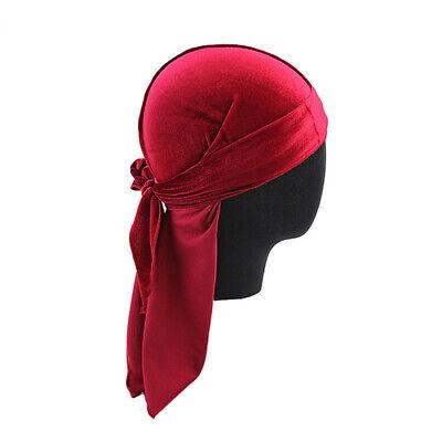 2019 Unisex Velvet Scarf Pirate Hat Long Tail Durag Chemo Cap Muslim Turban Hat ()