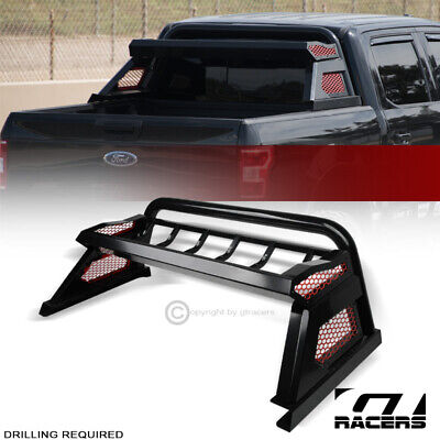 For 2007-2019 Toyota Tundra Matte Blk Chase Rack Truck Bed Roll Bar+Cargo Basket