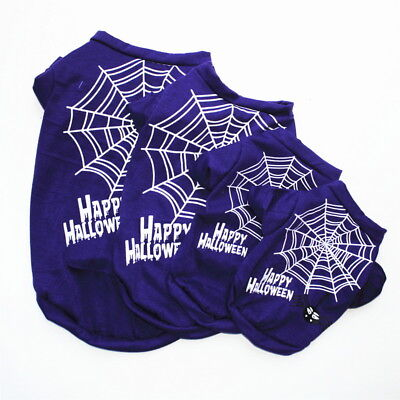 Halloween Pet Clothes Small Dog T-Shirt Tops Puppy Spider Web Apparel Costumes - Small Puppy Halloween Costumes