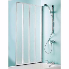 COOKE & LEWIS Nile Straight 4 Panel Folding Bath Screen (W) 840mm