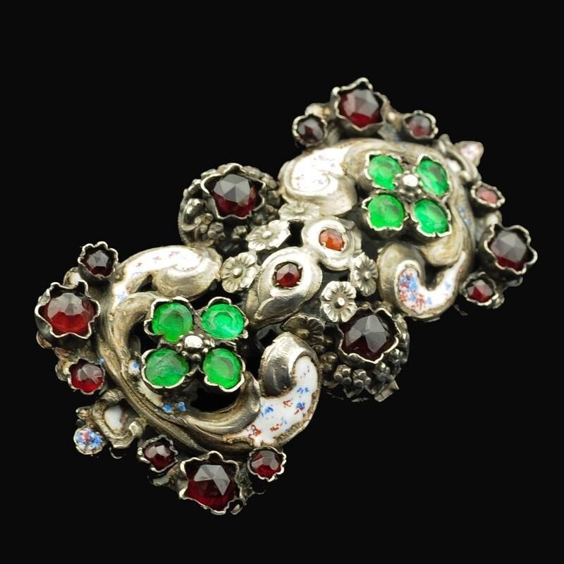 Antique Austro-Hungarian Jeweled Enameled Brooch