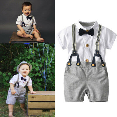 (Infant Baby Boy Gentleman Outfits Suits Short Sleeve Shirt+Bib Pants+Bow Tie Set)