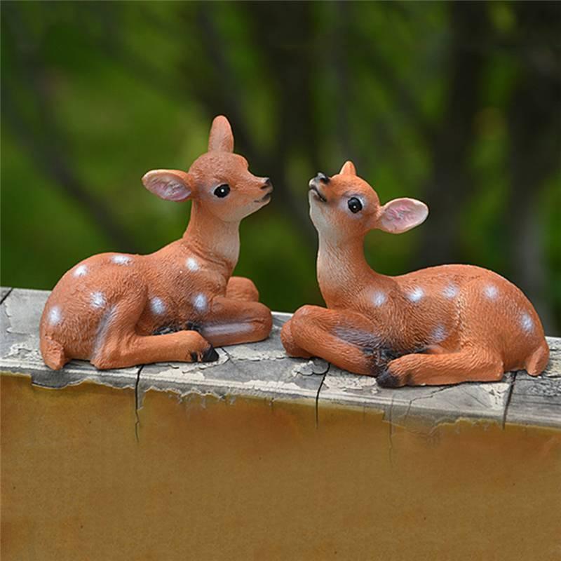10pcs Miniature Dollhouse Bonsai Garden Landscape Little Deers Fawn Decor