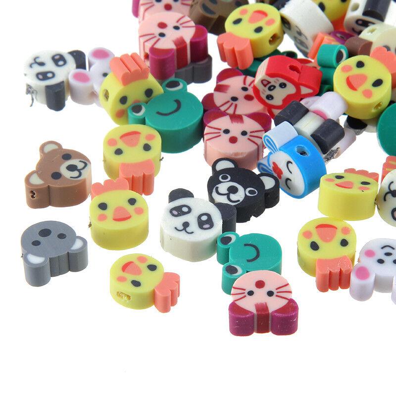 50PC Cartoon Animal Cat/Bear Print Polymer Clay Loose Bead Fit Bracelet Necklace